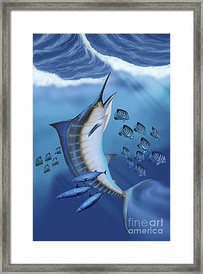 Small Fish Scatter As A Huge Blue Framed Print by Corey Ford