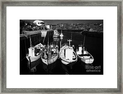 small fishing boats in bunbeg harbour county Donegal Republic of Ireland Framed Print by Joe Fox