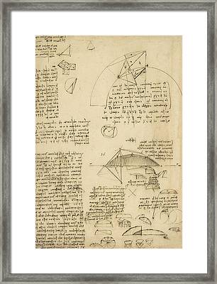 Small Front View Of Church Squaring Of Curved Surfaces Triangle Elmain Or Falcata Framed Print by Leonardo Da Vinci