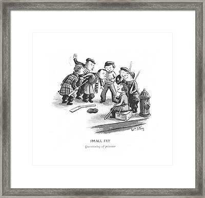 Small Fry Questioning Of Prisoner Framed Print