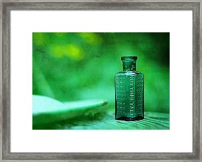 Small Green Poison Bottle Framed Print by Rebecca Sherman