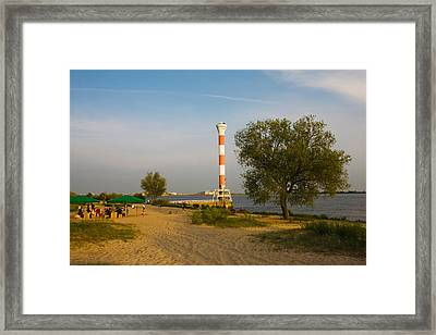 Small Lighthouse At The Riverside, Elbe Framed Print by Panoramic Images