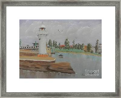 Small Lighthouse At Wollongong Harbour Framed Print by Pamela  Meredith