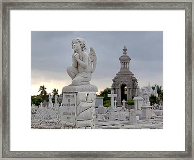 Small Praying Angel And Chapel Framed Print