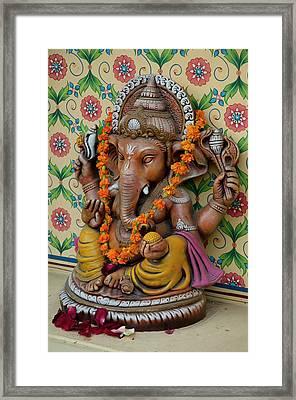 Small Shrine To Ganesh, Jaipur Framed Print by Inger Hogstrom