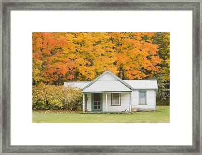 Small Sporting Camp In Fall Mountains Of Maine Framed Print