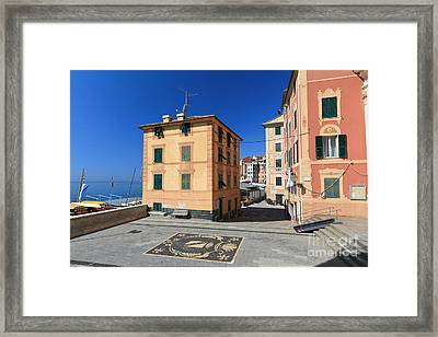 Framed Print featuring the photograph small square in Sori by Antonio Scarpi