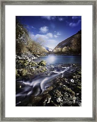 Small Stream Flowing Into The Mountain Framed Print by Evgeny Kuklev