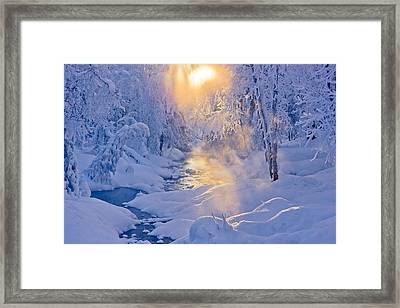 Small Stream In A Hoarfrost Covered Framed Print by Kevin Smith