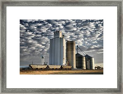 Framed Print featuring the photograph Small Town Elevators by Shirley Heier