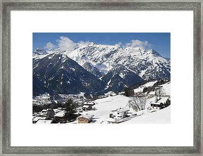 Small Town In Austria In Winter - Beautiful Mountain Landscape Framed Print