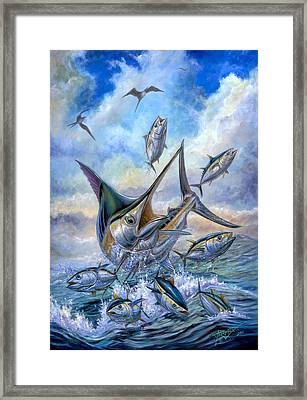 Small Tuna And Blue Marlin Jumping Framed Print