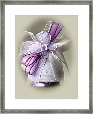 Small Vase With Butterfly And Violet Ribbons Framed Print by Vlad Baciu