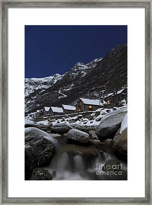 Small Village At Full Moon Framed Print