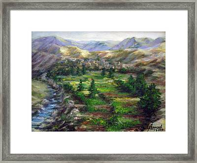 Village In The Mountain  Framed Print by Laila Awad Jamaleldin