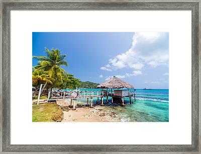 Small Wharf In Sapzurro Framed Print by Jess Kraft