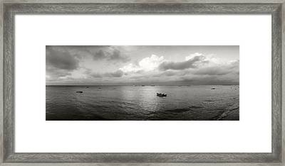 Small Wooden Boat In The Ocean, Morro Framed Print by Panoramic Images