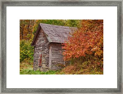 Framed Print featuring the photograph Small Wooden Shack In The Autumn Colors by Jeff Folger