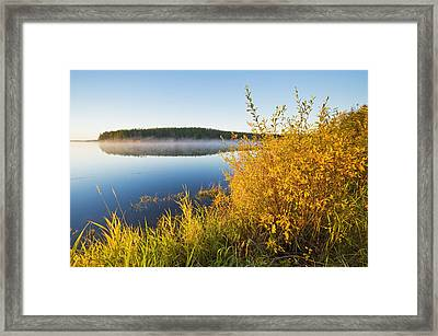 Smallfish Lake In Porcupine Hills Framed Print by Dave Reede
