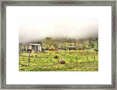 Smalll West Virginia Farm Coming Out Of Clouds Framed Print by Dan Friend