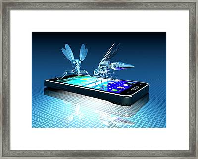 Smartphone With Nano Bugs Framed Print by Victor Habbick Visions