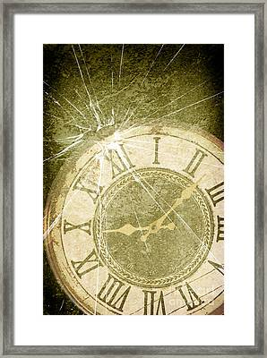 Smashed Clock Face Framed Print by Amanda Elwell