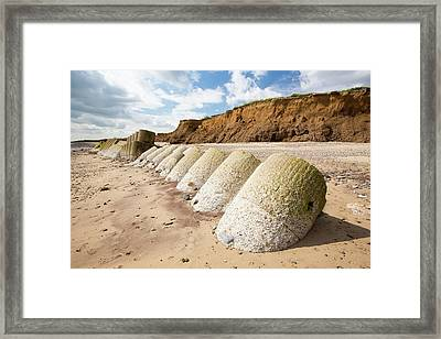 Smashed Concrete Sea Defences Framed Print