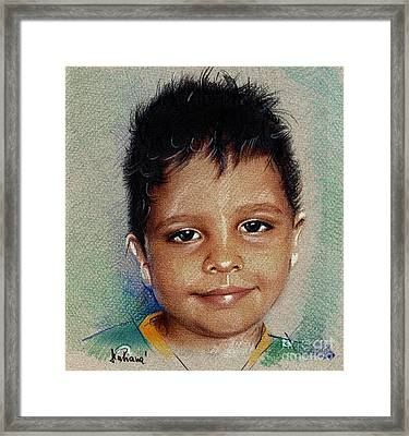 Smile - Colored Pencils Portrait Drawing Framed Print by Daliana Pacuraru