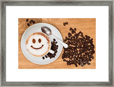 Smiley Face Coffee Framed Print by Amanda Elwell