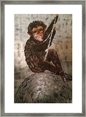 Smiley On A Wrecking Ball Framed Print by Helen Wendle