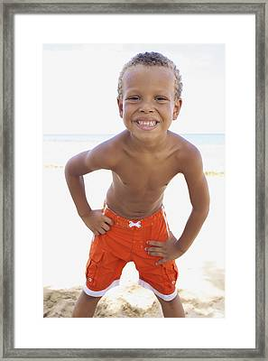 Smiling Boy On Beach Framed Print by Kicka Witte