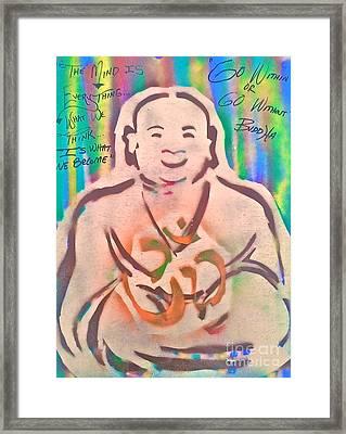 Smiling Brown Buddha  Framed Print by Tony B Conscious