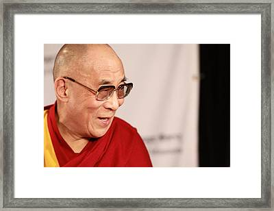 Smiling Dalai Lama Framed Print by Kate Purdy