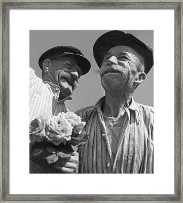 Smiling French Peasant Men Framed Print by Underwood Archives