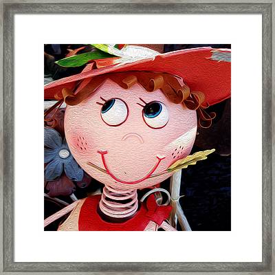 Smiling Girl Framed Print by Les Cunliffe