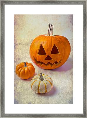 Smiling Jack-o-lantern Framed Print by Garry Gay