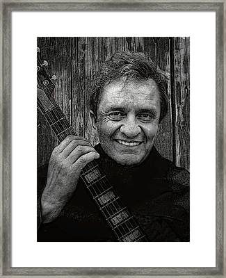 Smiling Johnny Cash Framed Print by Daniel Hagerman