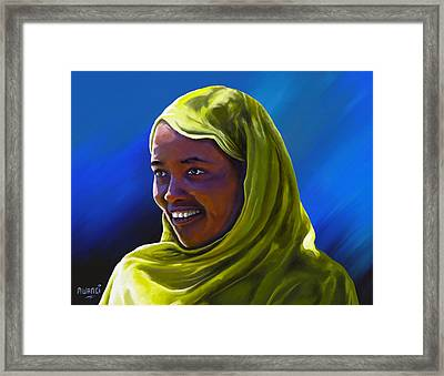 Framed Print featuring the painting Smiling Lady by Anthony Mwangi