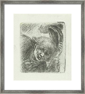Smiling Man, Jan Chalon Framed Print by Jan Chalon