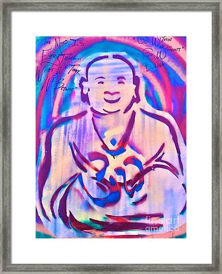 Smiling Purple Buddha Framed Print by Tony B Conscious