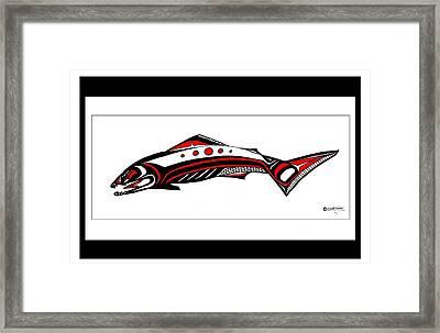 Smiling Salmon Framed Print by Speakthunder Berry