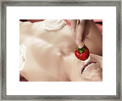 Smiling Sexy Nude Woman Eating Strawberry With Cream Framed Print