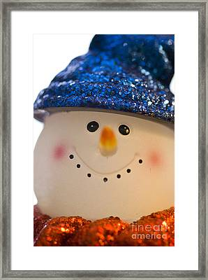 Smiling Snowman Framed Print by Birgit Tyrrell