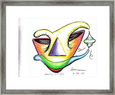 Smiling  Triangle Framed Print by Feile Case