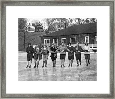 Smith Girls Skate On Paradise Pond Framed Print