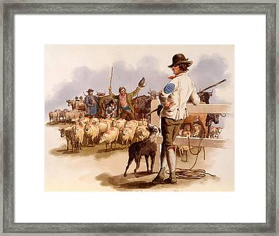 Smithfield Drover, From The Costumes Framed Print by William Henry Pyne