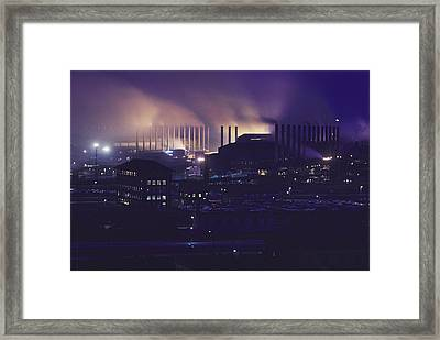 Smoke And Flame Rise Above The Mills Framed Print by B. Anthony Stewart