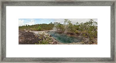 Smoke Erupting From A Hot Spring Framed Print by Panoramic Images