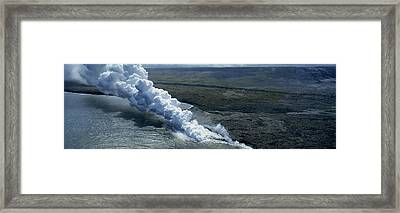 Smoke Erupting From Volcano At Coast Framed Print by Panoramic Images