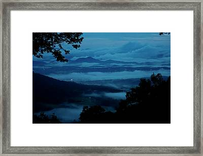 Smoke From Fireworks Blends With Clouds Framed Print